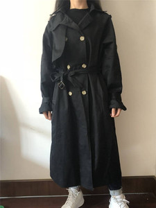 Image 5 - womens windbreaker Double Breasted Vintage Trench Coat For Ladies Long Coat Outerwear jaqueta feminina Lapel Coat  With Belt
