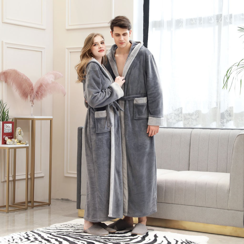 Mens/Women Winter Lengthened Bathrobe Splicing Home Clothes Long Sleeved Thick Robe Patchwork Coat Stitching Bathrobe Pajamas