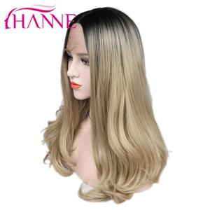Image 4 - Hanne brown/loira ombre peruca longa ondulado resistente ao calor fibra peruca de cabelo sintético perucas da parte dianteira do laço para a mulher preta/branca