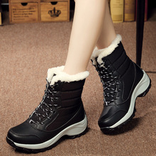 Brand 2019 New Winter Snow Boots Mid-Calf Platform Boots High Top Shoes Woman Wedges Plus Velvet Warm Fashion Plus Size 35-42 snow boots platform 4 8cm heels down flat women shoes black white blue mid calf boots fashion ladies winter boots plus size 44