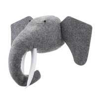 Hot Sale 3D Felt Animal Elephant Head Animals Head Toys Kids Bedroom Wall Hangings Decor Artwork Gifts