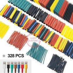 328 unids/set manguito envoltura cable eléctrico del coche kits de tubo de Tubo termorretráctil poliolefina 8 tamaños de Color mixto