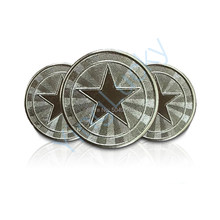 100 Pcs 25 * 1.85mm Metal Arcade Game Tokens Stainless Steel Arcade Game Coin Pentagram Crown Tokens