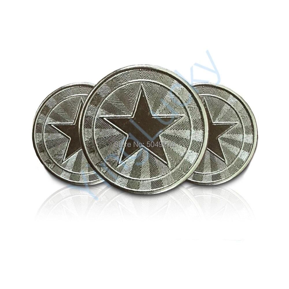100 pçs 25*1.85mm metal jogo de arcada fichas de aço inoxidável jogo de arcada moeda pentagrama coroa tokens Jogos que funcionam com moedas    -
