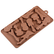 1PCS Silicone Bass Guitar Shape Mold For Ice Cube Tray Jelly Chocolate Maker Cake Cupcake Decorating Mould Party Tool