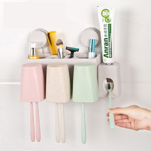 Bathroom Accessories Set Toothbrush Holder with Toothpaste Dispenser Stand Wall Mount Rack Storage Tools