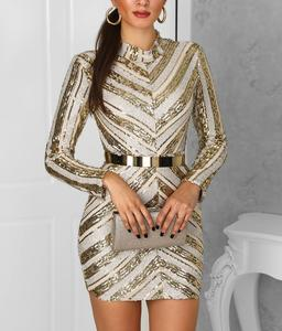 Image 2 - Gold Sliver Sequined Long Sleeves Straight High Neck Cocktail Dresses Party Gown Sexy Women Dress