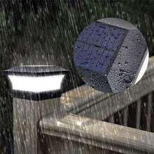 Светодиодный садовый светильник на солнечной батарее, квадратный столб IP65, водонепроницаемая уличная лампа для сада, двора, крыльца, настен...