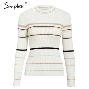 Image 5 - Simplee Stripe knitted women pullover sweater O neck autumn winter female sports sweater Long sleeve bestmatch ladies  jumper