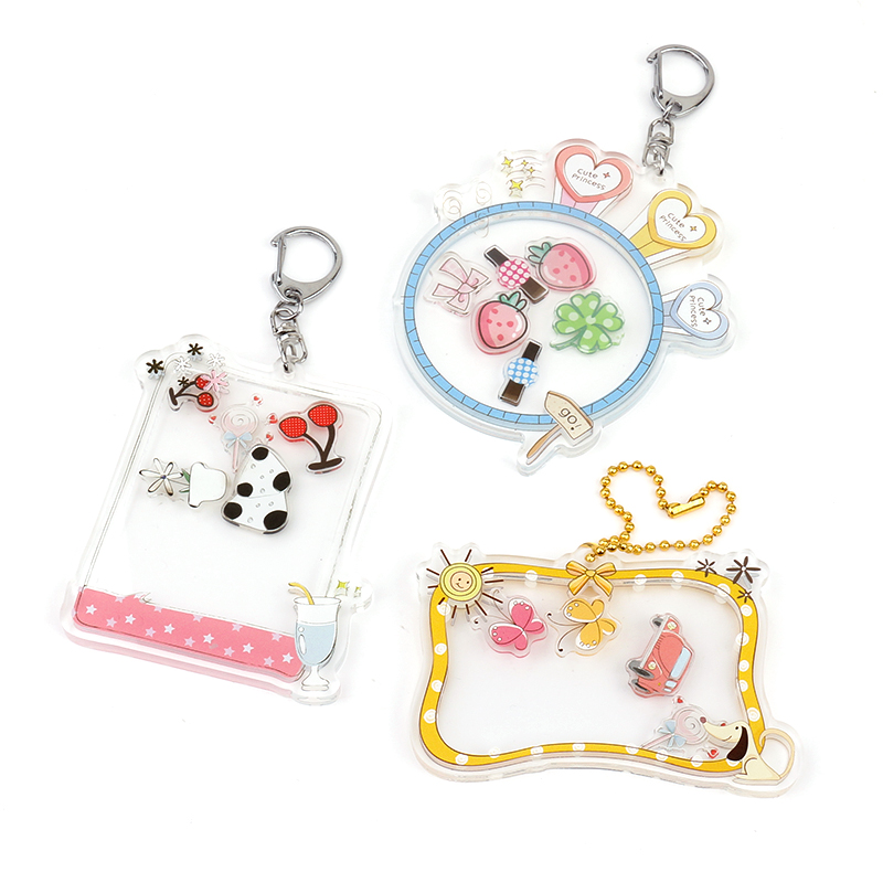 2020 new VOGRACR custom combine printed acrylic shake charms,cartoon anime moving shaking keychains with small shakers(China)