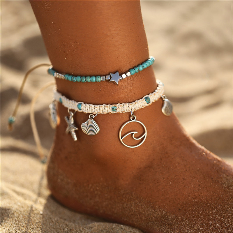 17KM Fashion Starfish Shell Anklets For Women Summer Multilayered Ocean Beach Star Sea Turtle Ankle Bracelet Foot Leg Jewelry