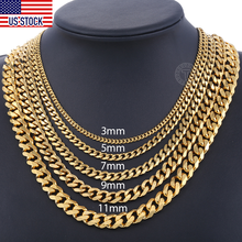 Mens Necklaces Chains Stainless Steel Black Gold Silver Color Necklace for Men Women Curb Cuban Jewelry 3/5/7/9/11mm DLKNM08