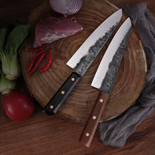 Deng Chef Knife Super Sharp Wood Handle 8-Inch Handmade Forged and Home Kitchen Slicing Meat Cleaver Vegetable Knife