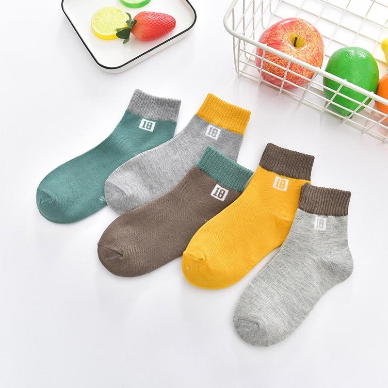 1 piece=5 pair Children's Cotton Socks Student Socks Floor Kids Socks Autumn Winter Spring Boys And Girls Multi Color Sock 3