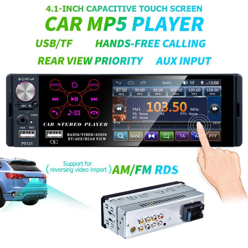 P5131 4.<font><b>1</b></font> inch <font><b>1</b></font> <font><b>Din</b></font> Capacitive Touch Screen <font><b>Car</b></font> In-Dash Stereo <font><b>Audio</b></font> Bluetooth AM FM RDS Radio Head Unit MP5 Multimedia Player image