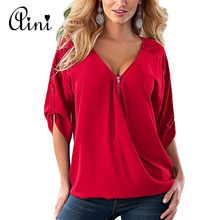 Plus Size 5XL Women Tops and Blouse 2019 Elegant Half Sleeve Black Solid V-Neck Zipper Shirt Female Loose Casual Blouses Blusas(China)