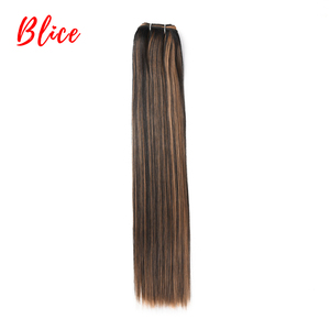 Blice 18-26 Inch Synthetic Hair Extension 1PCS/Pack Bundle Weft Yaki Straight Weaving Mixed Color Kanekalon Hair For Women