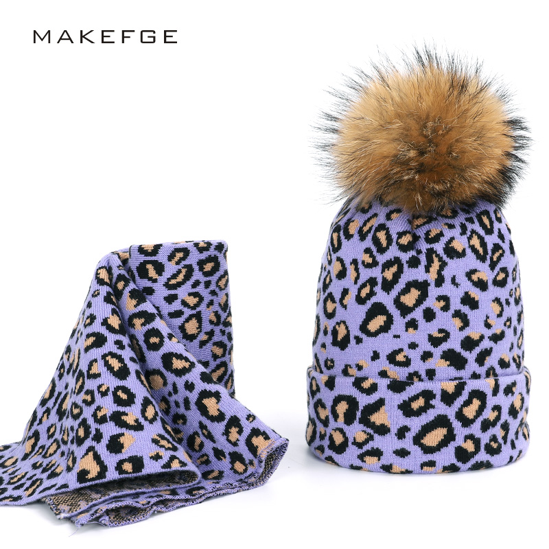 2019 Raccoon Fur Two-piece Ladies Leopard Hat Scarf Real Fur Pompom For Hat Winter Warm Caps Headscarf Hat Casual Woman Peas
