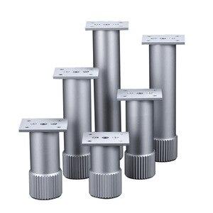 Image 1 - 4Pcs Hoogte Verstelbare Metalen Meubelen Benen Aluminium Coffe Tafel Benen Zilver Voor Sofa Tv Kast Voet Meubels Hardware