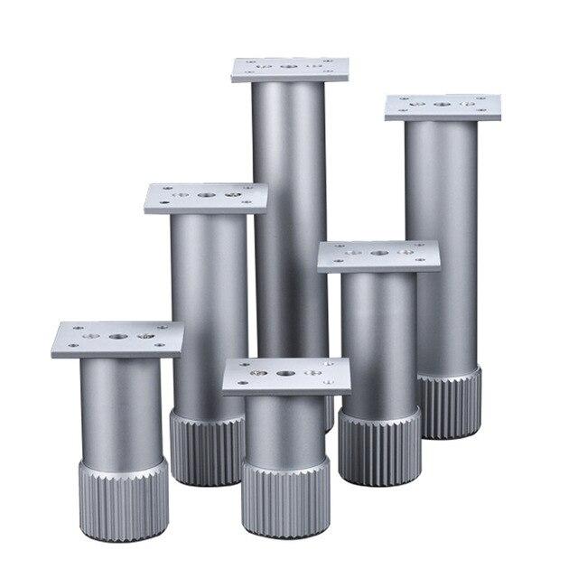 4Pcs Hoogte Verstelbare Metalen Meubelen Benen Aluminium Coffe Tafel Benen Zilver Voor Sofa Tv Kast Voet Meubels Hardware