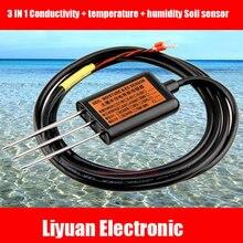 Sensor 3 en 1 de conductividad, temperatura y suelo de humedad, Sensor de conductividad del suelo RS485, sensor de temperatura y humedad del suelo