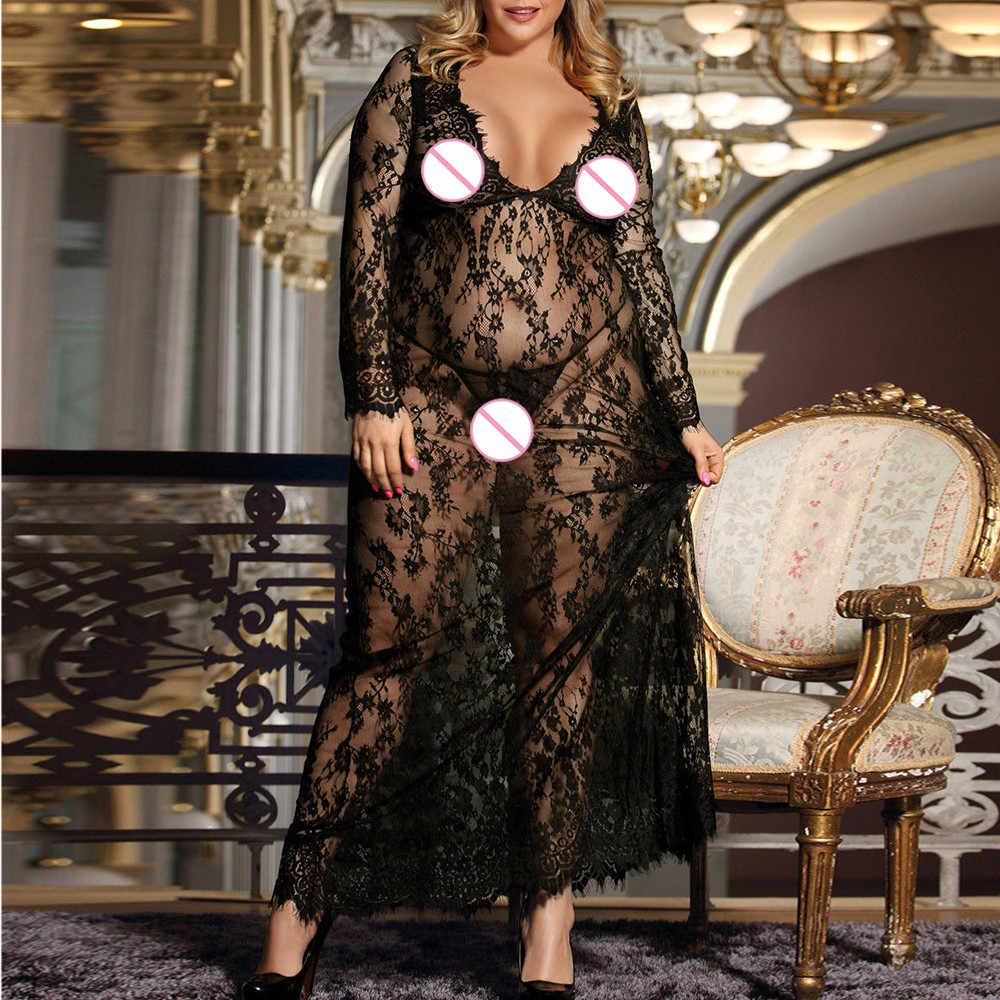 StylishBar mujeres camisón Sexy Lencería vestido de encaje ver a través de malla vestidos de noche largos ropa de dormir hermosa talla grande 3xl