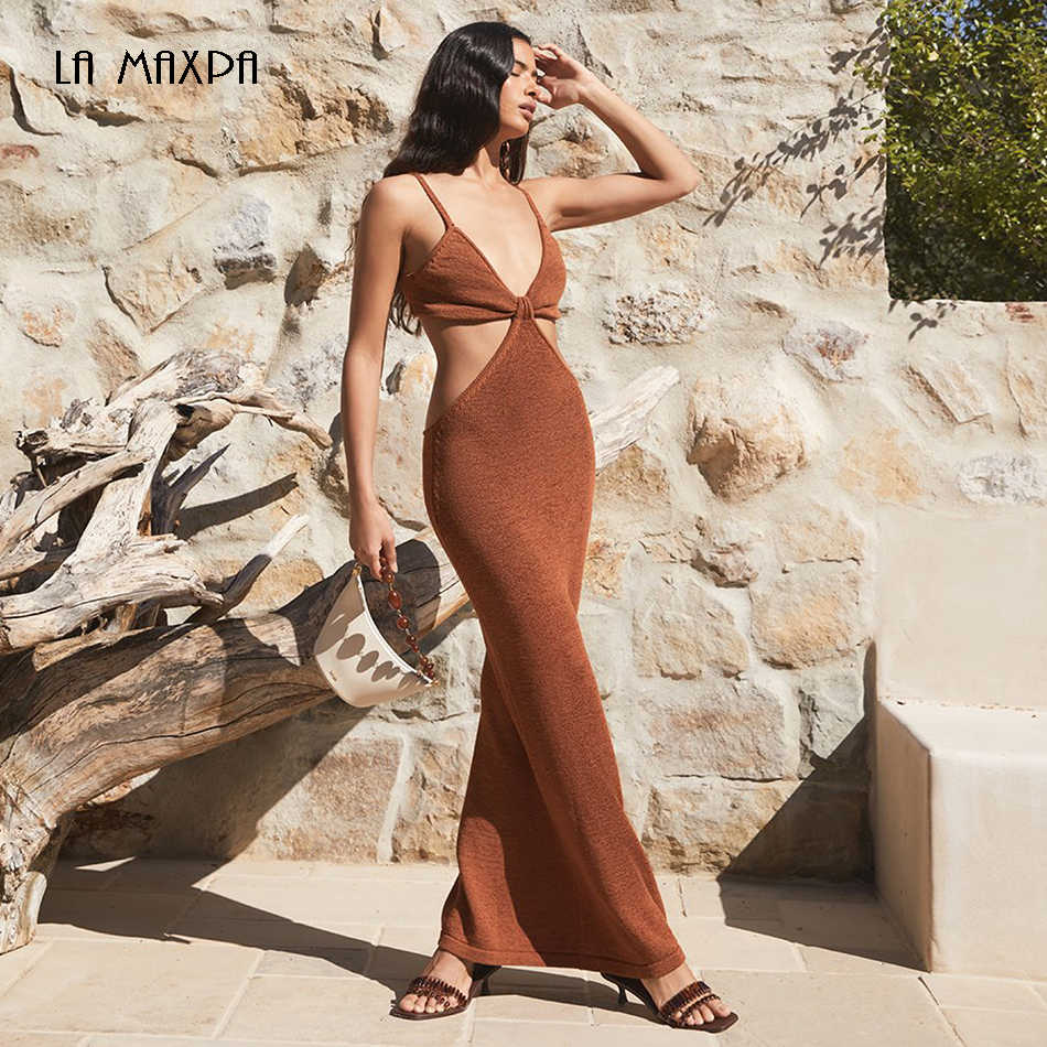 Gratis Verzending Trendy Taille Hollow Out Ontwerp 2020 Nieuwe Sexy V-hals Backless Celebrity Party Club Bandage Lange Jurk Vestidos