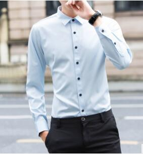 JTFANMen's shirt long-sleeve shirt overalls slim square collar solid color youth undershirt 2018 spring  G-26 1