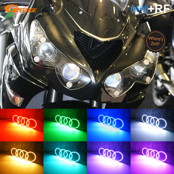 For Kawasaki NINJA ZX14R ZZR1400 2012-2018 RF Bluetooth Controller Multi-Color Ultra bright RGB LED Angel Eyes kit