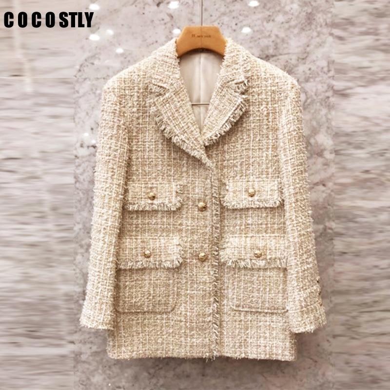 Notched Collar Plaid Pocket Tweed Blazer Women Coat Single Button Suit Jacket Ladies Coats Long Sleeve Tweed Outwear Coat Jacket