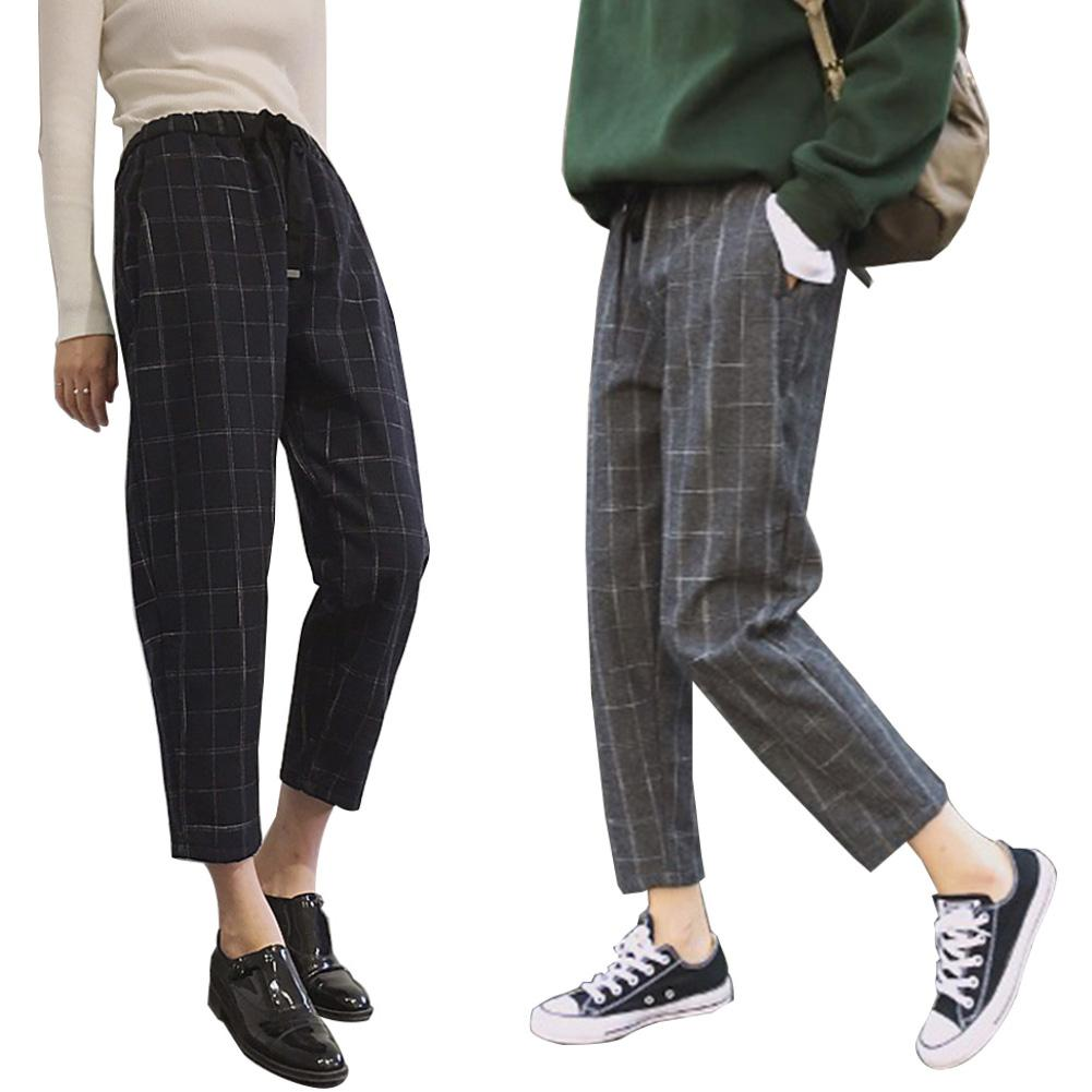 Spring Women Pants Casual Plaid Loose Waist Drawstring Harem Pants Female Ankle-Length Pants Woolen Trousers Women Harem Pants