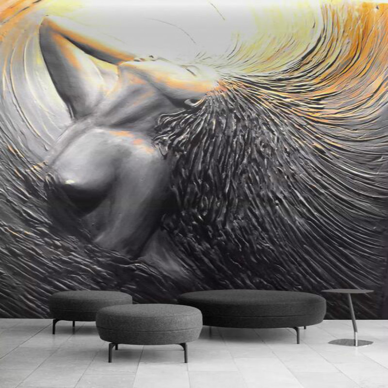 Home Improvement <font><b>Wall</b></font> <font><b>Paper</b></font> <font><b>3D</b></font> Three-dimensional Embossed <font><b>Sexy</b></font> Beauty Mural Wallpapers for Living Room Gray Papel De Parede <font><b>3D</b></font> image