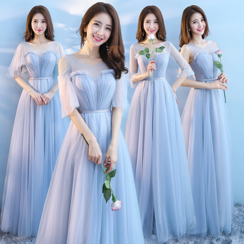 Bridesmaid Dresses Gray Crepe A-Line Long Women Wedding Party Dress O-Neck Half Sleeve Formal Gown Backless Elegant Vestido R081