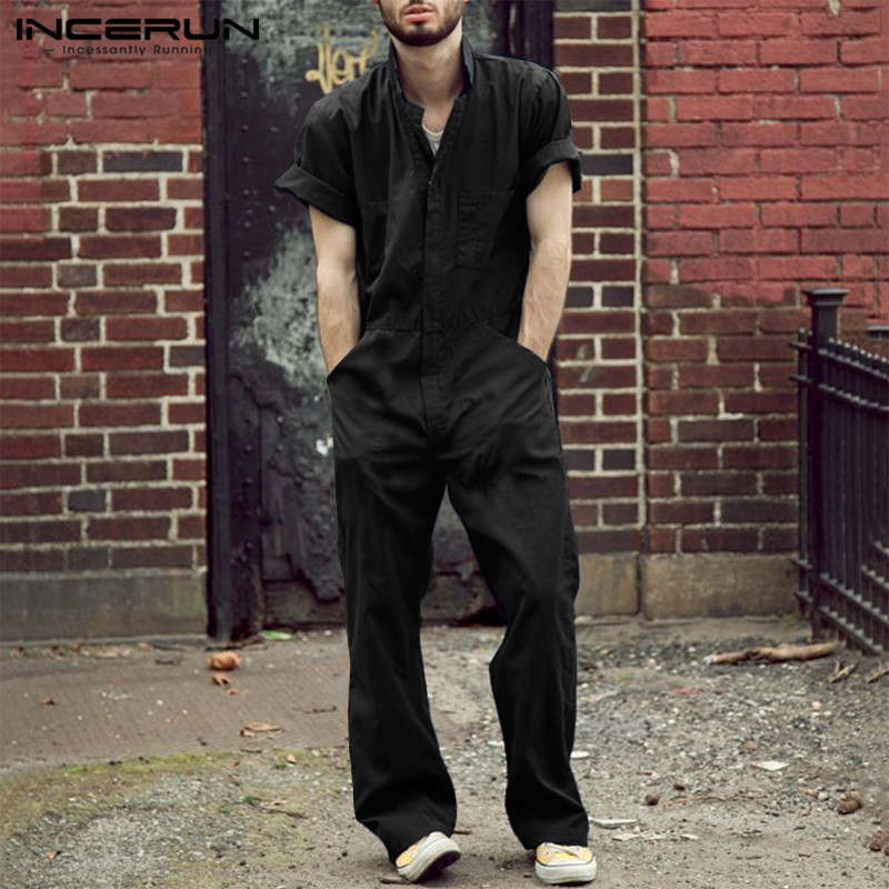 INCERUN Men Jumpsuit Casual Pants Solid Joggers Streetwear 2020 Loose Shortsleeve Fashion Mens Rompers Cargo Overalls S-5XL 7