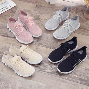 Image 5 - Women Casual Shoes Air Mesh Shoes Solid Shallow Sneakers Slip On Platfrom Shoes Lace up Stretch Fabric Shoes WJ010