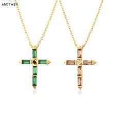 ANDYWEN – collier avec pendentif croix colorée en argent Sterling 925, chaîne longue, bijoux fins, Corto Doris, Rosa, Rock, Punk