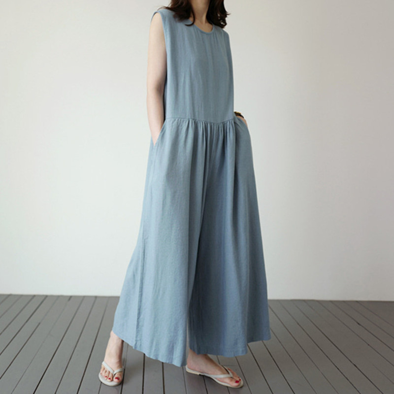 Johnature 2020 New Korean Casual Cotton Linen Sleeveless Loose Jumpsuits Women Summer Pockets Ankle-length Bodysuits