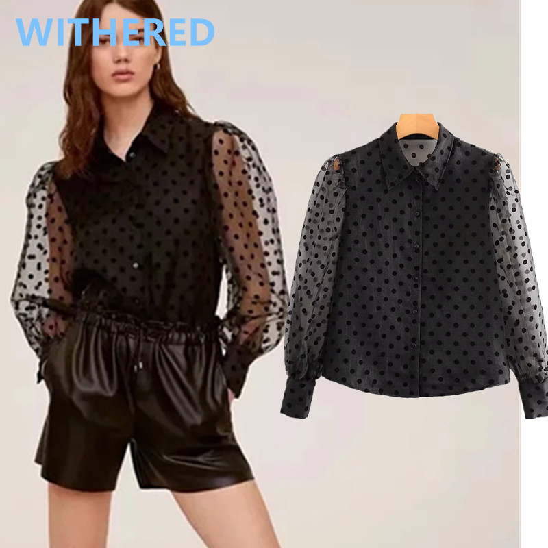 Withered England Vintage Perspective Polka Dot Spring Blouse Women Blusas Mujer De Moda 2020 Kimono Shirt Womens Tops And Blouse