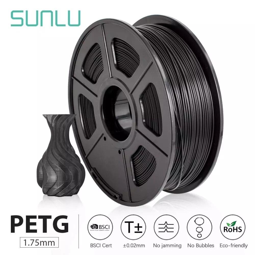 Sunlu Petg 3D Printer Filament 1.75Mm Dooling Gift Materiaal Hot Koop Zwart Petg 3D Filament Verbruiksartikelen 1Kg/2.2LBS