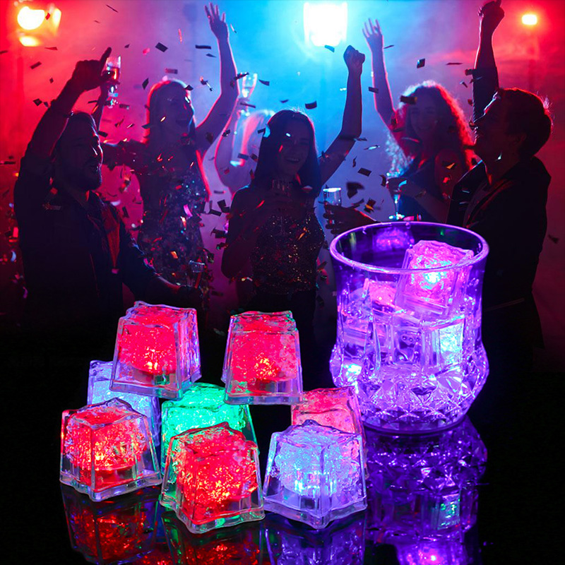 12pcs DIY LED Light Ice Cubes Colorful Flash Light Wedding Festival Party Decorative Glowing Light Drinking Ice Cubes