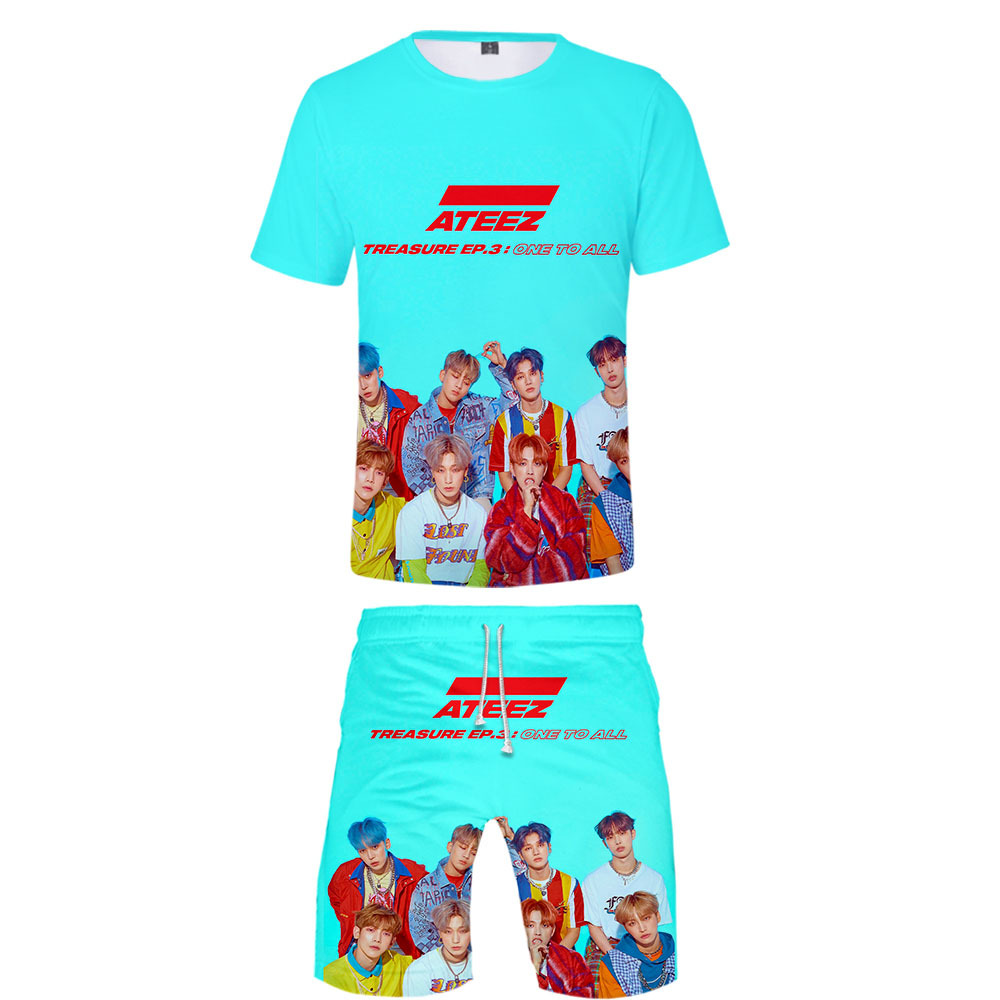 Hot Sales Ateez South Korea Combination Digital Printing 3D Short Sleeve Baseball Uniform Shorts Set Casual