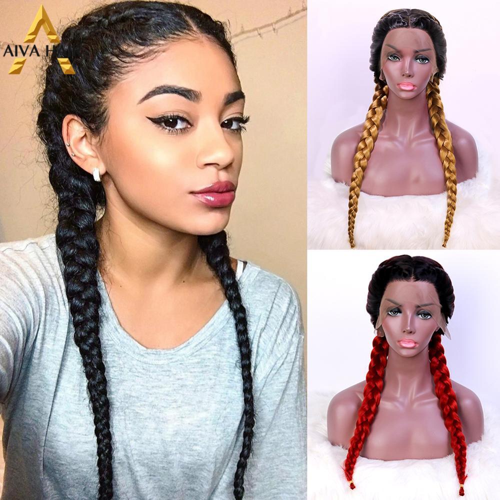 Aiva cabelo resistente ao calor peruca dianteira do laço sintético caixa preta trança peruca com cabelo do bebê loira vermelha longa trançado perucas para mulher