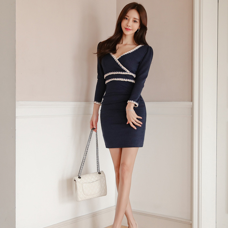 Short Cocktail Dresses Navy Blue Classic Long Sleeves Sexy V Neck Party Gowns Cheap Above Knee Bodycon Dress Vestidos Coktail