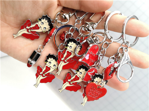 New 1pcs Cartoon Red Love Heart Jingle Bells Betty Boop Charms Pendants Key Chain Keychains Party Toy Kids Gifts