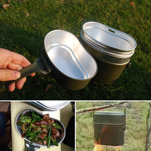 1 Pcs Outdoor Lunch Box German Military Type Aluminum Can Heat Food Container Camping Tableware Green Set