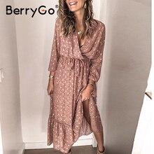 BerryGo Con Scollo A V stampa primavera estate delle donne del vestito Elegante a maniche lunghe a pieghe ufficio di lavoro vestito da A Line delle signore abito lungo abiti