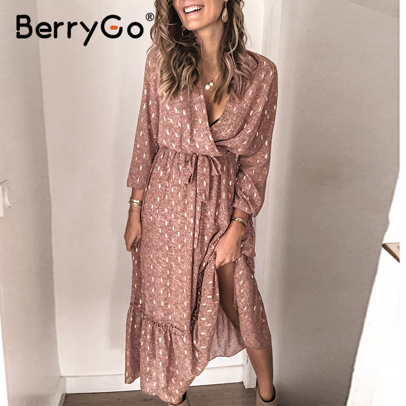 BerryGo V-neck Print Spring Summer Dress Women Elegant Long Sleeve Pleated Office Work Dress A-line Ladies Long Dress Vestidos