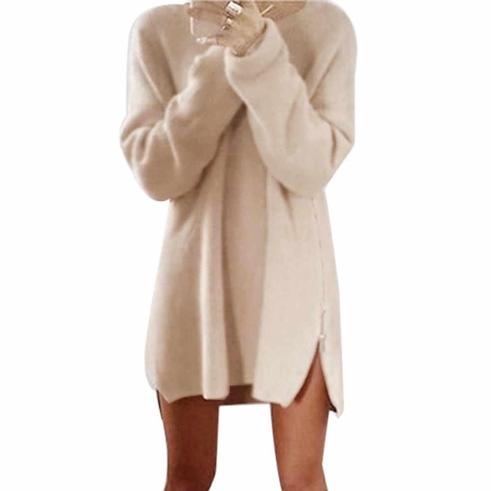 2019 Herfst Winter Solid Gebreide Katoenen Trui Jurken Vrouwen Mode Losse O-hals Trui Vrouwelijke Gebreide Jurk Vestidos