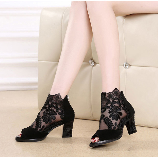 Floral Lace Peep Toe Bootie Sandals