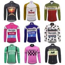 Çok Retro klasik bisiklet forması erkek uzun kollu formalar termal kış polar ve hiçbir polar MTB maillot ciclismo 9 stil